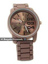 mens big 52 mm heavy brown sports business watch designer 02 03 04 steel dial 8""