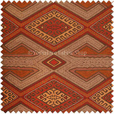 Brown Orange Red Kilim Aztec Geometric New Design Soft Texture Upholstery Fabric