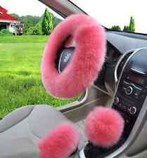 Australian Long Wool Fuzzy Auto Car Steering Wheel Cover Universal PINK