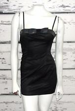 MOSCHINO JEANS~BLACK~STRETCH~SATIN *SEQUINS BOW* COCKTAIL MINI DRESS~4 (40 IT)