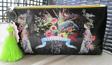 Black Beautiful Geisha Floral Papaya Art Makeup Cosmetic Bag Vegan Oriental