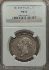 GREAT BRITAIN VICTORIA  1874  HALF-CROWN ALMOST UNCIRCULATED CERTIFIED NGC AU-58