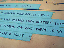 White Star Line, RMS Titanic, April 15th 1912 Telegram Sent by Bruce Ismay