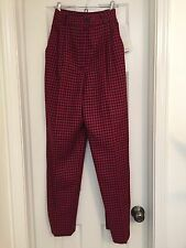 Vintage 1990 Womens Koret Wool Pleated Pants Red Black Houndstooth Size 10 NEW