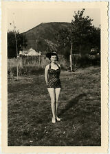 PHOTO ANCIENNE - VINTAGE SNAPSHOT-FEMME PIN UP SEXY MAILLOT DE BAIN MODE CHAPEAU