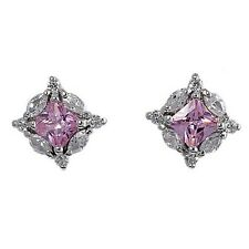 Silver Earrings with Cubic Zirconia Earring Height 9 mm Stone Clear Pink CZ