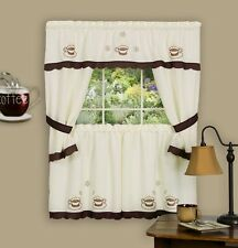 COFFEE CUP - KITCHEN CURTAIN Embellished Cottage set - embroidered / beige