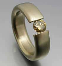 REIF-DESIGN - RIESIGER 0,75 CARAT FANCY COLOR BRILLANT SPANNRING - 750 WEISSGOLD