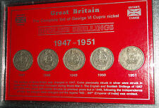 George VI The English Shillings 1947-1951 England Coin Gift Set in Display Case