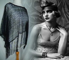 Shawl Cape Vintage Flapper 20s Lace Tassel Gothic Victorian Shrug 18 46 14