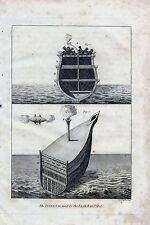 1801 ANTIQUE MILITARY PRINT THE INFERNAL USED BY THE ENGLISH AT ST MALO'S