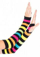 Goth Punk Biker Sleeve Fingerless Warm Arm Warmers Gloves Rainbow Pride Striped