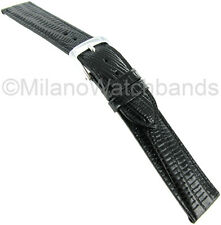 19mm Speidel Black Padded Gator Genuine Leather Stitched Watch Band Long 923 631