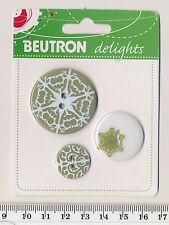 "BEUTRON ""DELIGHTS"" BUTTON SET  Brownish olive green and white - snowflake - BNIP"
