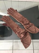 NWOT AUTH CARLOS FALCHI GENUINE LEATHER SUEDE SILK LINED LONG GLOVES sz M 7.5