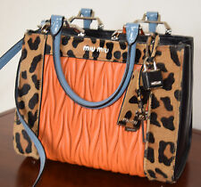 Miu Miu Double Handle leopard-print calf hair and matelassé leather shoulder