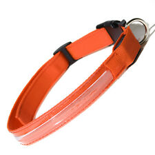 "Adjustable LED COLOR Light Up Pet Dog Cat Neck Collar Night Safety 20"" ORANGE"