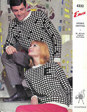 Vintage Emu Knitting Pattern Ladies/Mens DK Checkerboard Jumpers 34-44""
