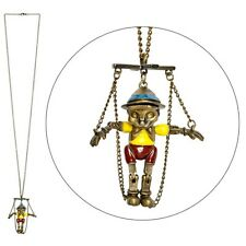 Funky Vintage Style 3D String Pinocchio Puppet Pendant Necklace - Gold Tone New