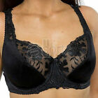Black Large Bosom Satin Lace Underwired Firm Control Bras Plus Size Cup Ladies