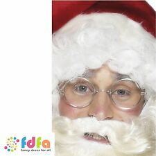 SILVER WIRE FRAMED SANTA CLAUS SPECS GLASSES mens fancy dress christmas xmas