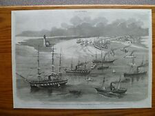 """1862 Engraving-Commodore Farragut's Fleet in MS. River-"""" OLD BEN """" Tennessee"""