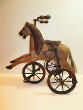 "Antique Miniture Hand Carved Wooden Horse Tricycle 15 1/2"" Long"