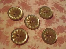 5 Vintage Faux Pearl Buttons Pale Golden Beige sew craft scrapbook knit jewelry