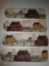 CUSTOM  ~ ~ PRIMITIVE COUNTRY HOUSES & SHEEP CEILING FAN WITH LIGHT