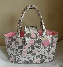 Large Pink and Gray Elephant, Jungle Animals, and Polka Dots Diaper Bag Tote
