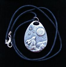 MOON GAZING HARE PENDANT  Pagan  Pewter  Wicca  Celtic Spiral