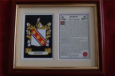 Bishop Heraldic Framed Coat of Arms + Family Crest and History