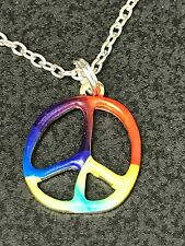 "60's Boho Peace Sign Multi-Colored Necklace 18"" TIbetan Silver Necklace"