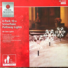 4pk Snowflake Pathway Lights 10in 48 Clear Lights, 10ft Length, New in Box
