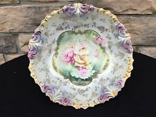 RS Prussia Large Serving Bowl - Iridescent Pink Roses Gold Grapes - Fabulous!!!