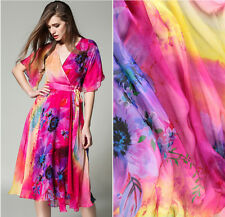 DESIGNER 100% PURE SILK CHIFFON HOT PINK FLORAL PRINT BY THE METRE S254