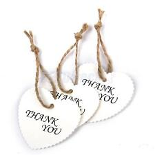 100 Blank White Heart Shaped Kraft Paper Gift Tags Wedding Scallop Label String