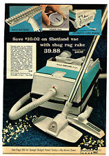 1972 AD SHETLAND VACUUM SHAG RUG RAKE  PANASONIC POP-UP TV MINI-SIZE PORTABLES