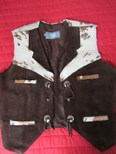Vintage Cowboy Pony Leather Waistcoat Country Rockabilly Tan Suede RARE FIND VLV