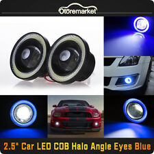 "2.5"" COB LED Fog Light Projector Lamp+ Blue Halo Angle Eyes Ring Bulb DRL USA"