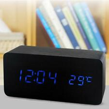 Digital LED Wood  Desk Table Alarm Clock Timer Thermometer Snooze Voice Control#