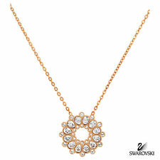 "NIB Authentic Swarovski Crystal Pendant Necklace Rose Gold 18"" 5048035 $125"