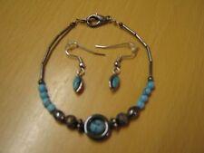 Nouveau assorti argent/turquoise bracelet (6 cm diam.) & boucles d'oreille bijouterie fantaisie