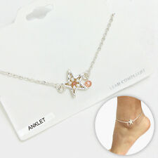 Anklet Starfish Ankle Bracelet Beaded Nautical Beach SILVER Natural Surf Jewelry