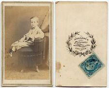 DAPPER BOY ON POSING STOOL BY BOGARDUS OF NEW YORK W/ STAMP ANTIQUE CDV
