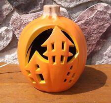 "Halloween Blow Mold  Pumpkin Haunted House Carved  Light Up Prop  9"""