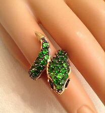 Bright Green Gemstone Snake Ring, 925 Sterling Palladium,Michael Valitutti, Sz 5