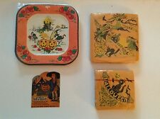 Four Pieces of Vintage Halloween Collectibles,Plates,2 sets of napkins,& 1card