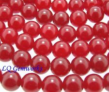 "15.5"" Strand RUBY RED JADE 10mm Round Beads BOGO"