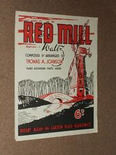 Thomas A.Johnson Red Mill Waltz Sheet Music Piano and Accordian.